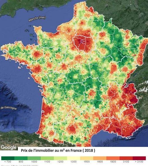 Carte de France du prix de l'immobilier