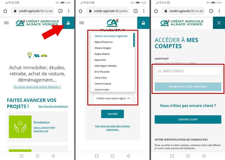 Connexion Crédit Agricole navigateur mobile