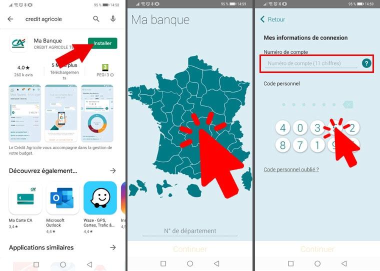 Connexion Crédit Agricole par application mobile