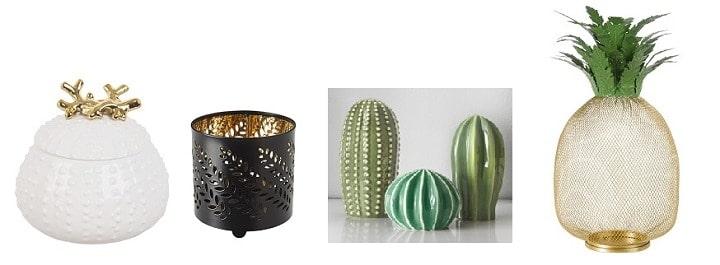 déco ananas cactus doré