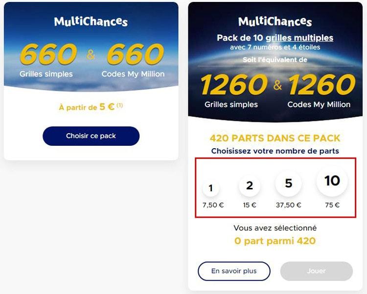 Euromillions choix du nombre de part MultiChances
