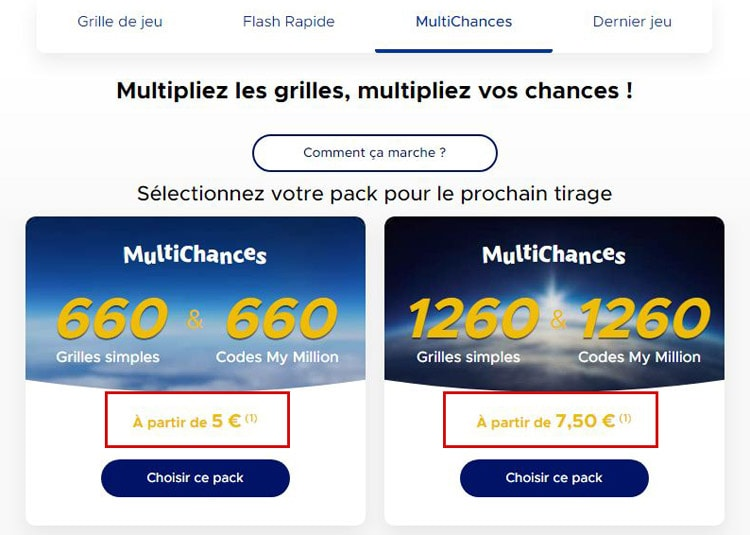Multichances Euromillions choix de pack