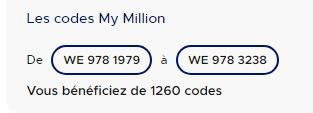 Codes MyMillion Multichance