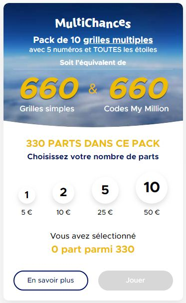 Pack 5 euros Multichance Euromillions