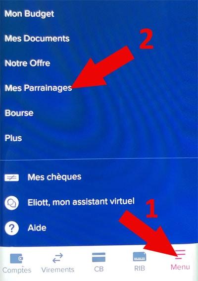 Parrainage Boursorama par application mobile