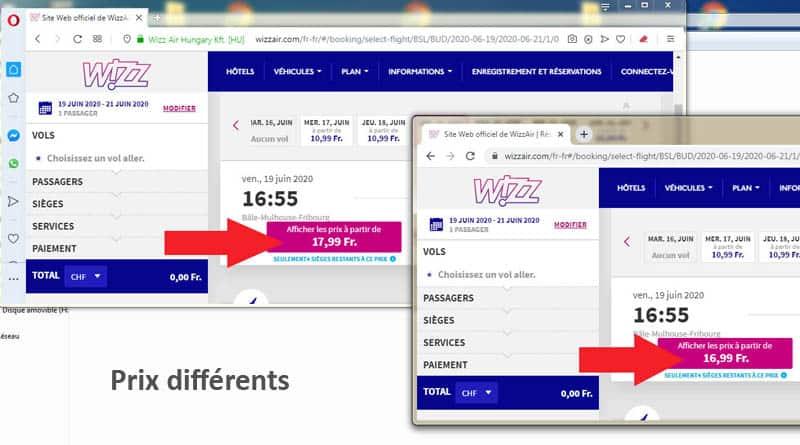 Prix billet avion moins cher avec navigateurs différents