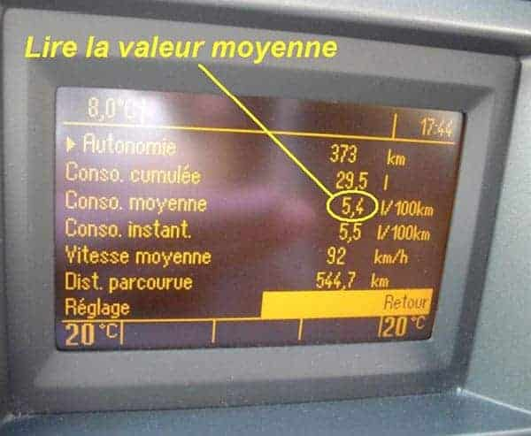 valeur moyenne consommation carburant